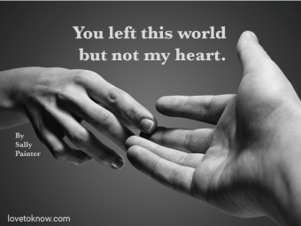 Emotional black and white photo of separation and death of a spouse quote