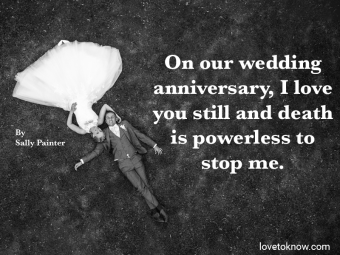 Wedding couple lying on grass and death of a spouse quote