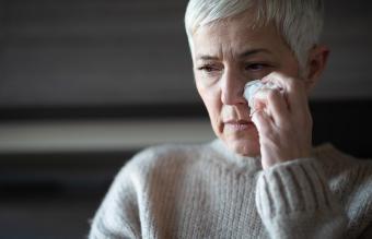 senior woman grieving
