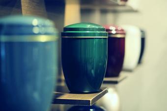 Funeral urns aligned