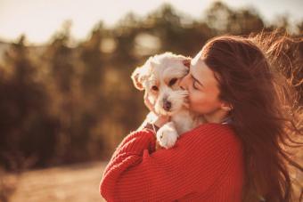 Woman hugging and kissing pet dog