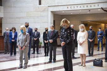 The Senate Democrats held a moment of silence in Emancipation Hall to commemorate the lives of George Floyd,