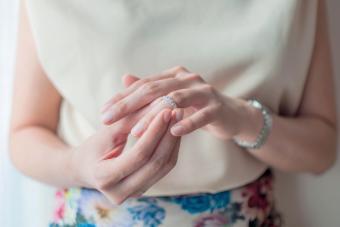 Woman wearing her wedding ring