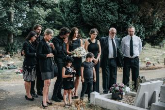Family at the cemetery