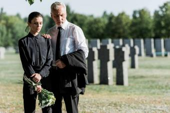 senior man and woman on funeral