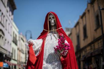 A statue of Santa Muerte in Mexico City.
