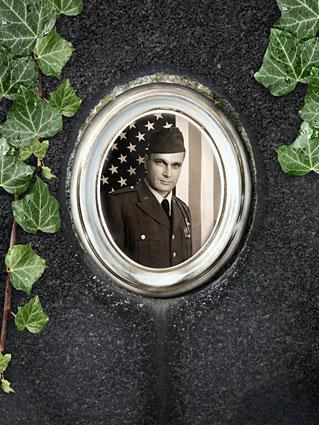 headstone with photo