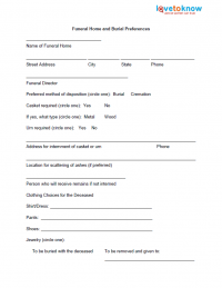 Planning a Funeral With Printable Worksheets | LoveToKnow