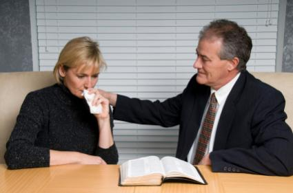 Woman receiving Christian grief counseling