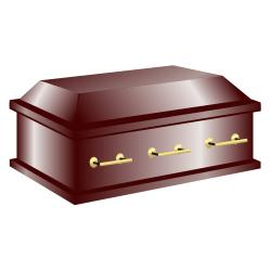 Dark wood closed casket