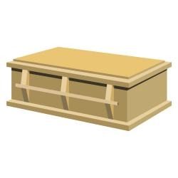 Light wood closed casket