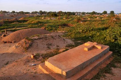 Gravestone at sunset in Africa