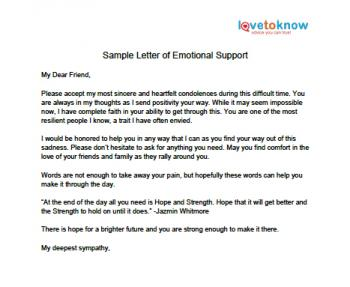 Printable Sample Letter Of Emotional Support Lovetoknow