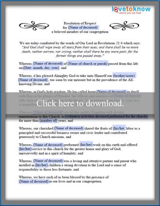 Pastoral Funeral Resolution Template