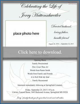 Free funeral program templates simple funeral program stopboris Choice Image