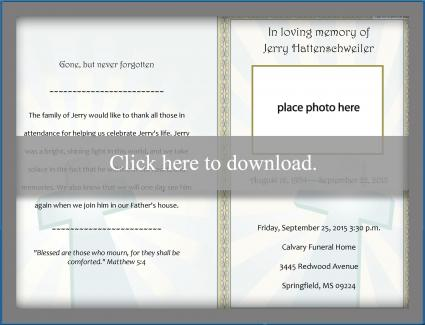 Folded Funeral Program. Folded Funeral Template  Free Funeral Program Templates Download