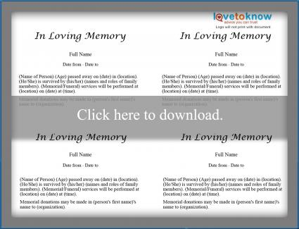 Free obituary templates lovetoknow for Template for writing an obituary