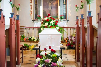 Funeral with flowers