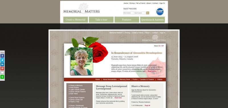 Screenshot of Memorial Matters website