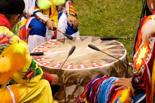 Beating Drum at Indian Pow Wow