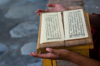 Monk holding scripture book