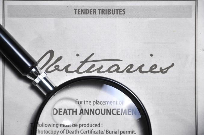 Obituaries advertisement in newspaper