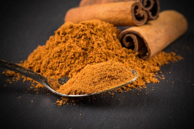 Spoonful of cinnamon powder