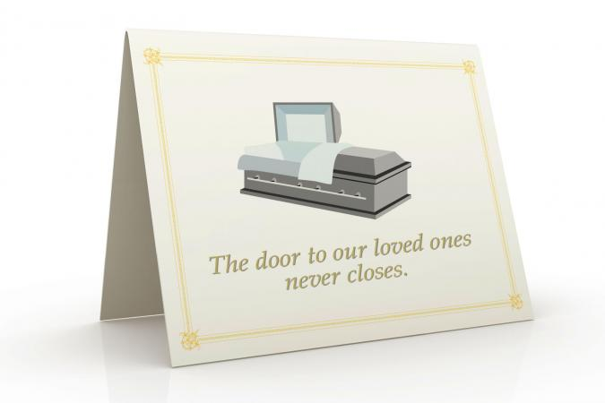 Card with casket art and message