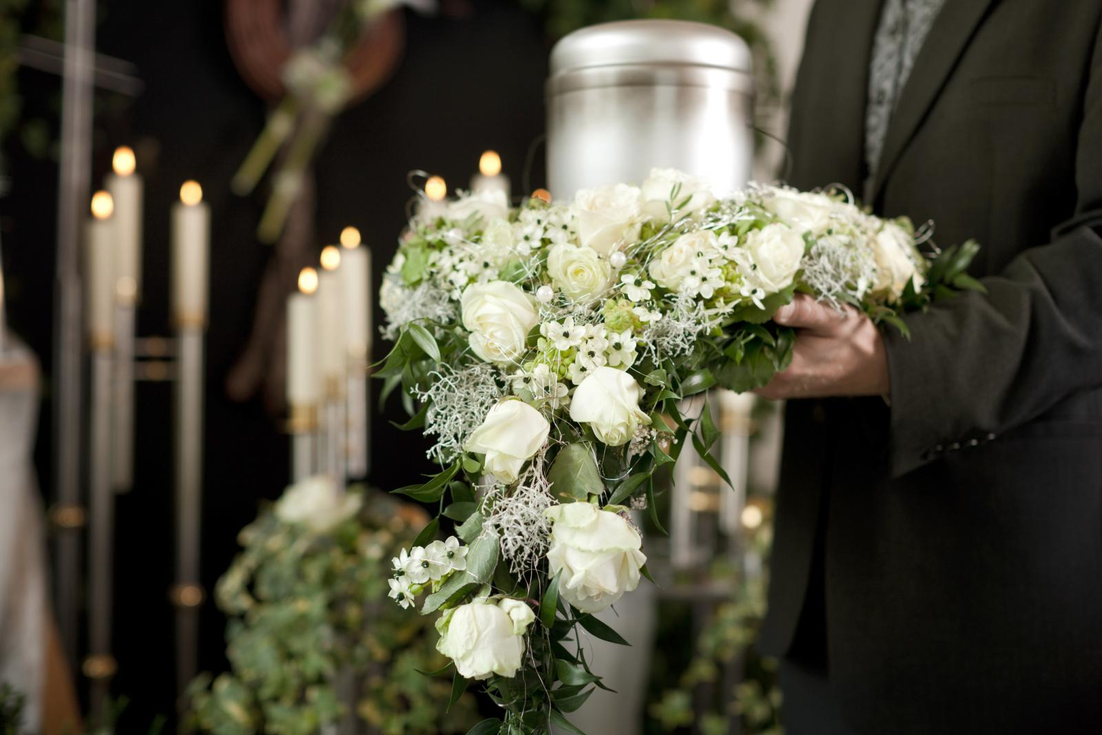Flowers of grief at funeral