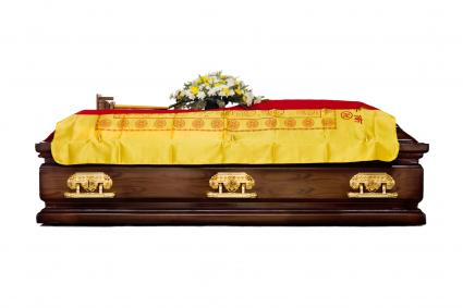 Brown Casket at a traditional Chinese funeral