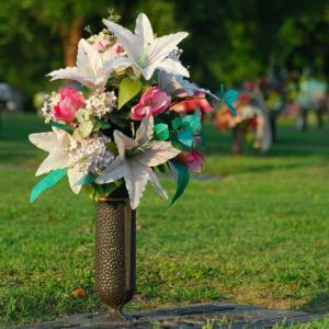 Headstone flower vase