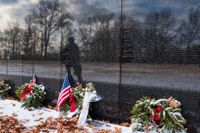 Vietnam Veteran's Memorial in Winter