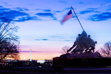 The Marine Corps War Memorial at sunrise in Arlington