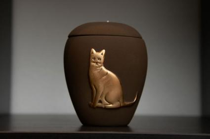 Cat urn stands on a shelf