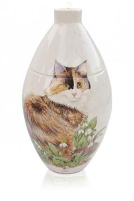 Handpainted pet urn with cat design