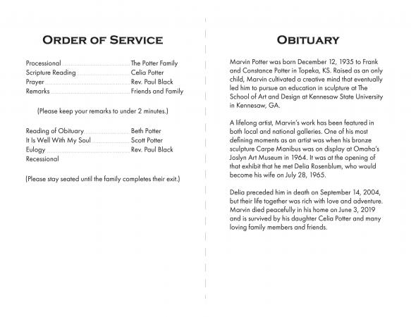 Sample funeral Program