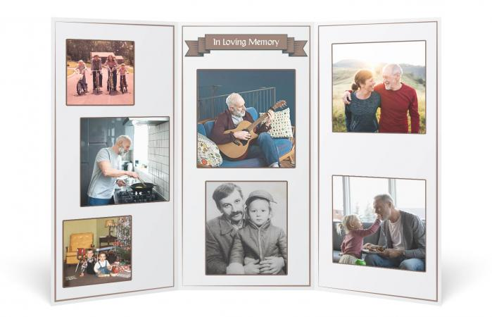 tri-fold funeral photo collage