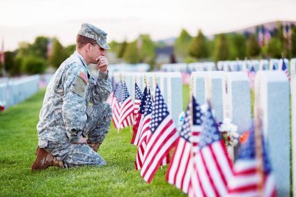 American soldier in uniform on memorial day