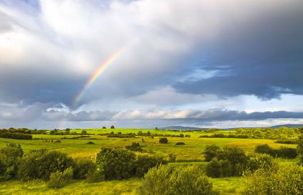 Irish landscape with a rainbow