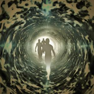 Life after death concept of people in tunnel of light