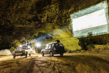 Offroad vehicles using projector onto rockface