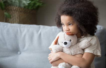 Upset lonely kid girl