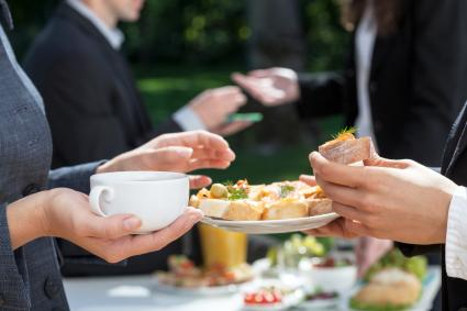 Coffee and fresh sandwiches at funeral reception