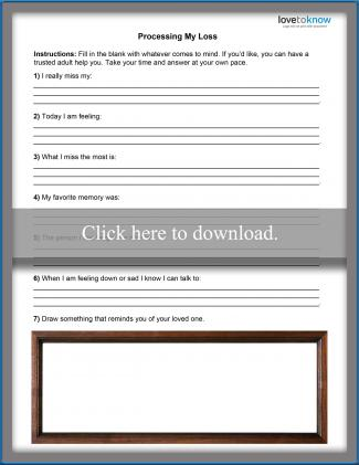 Child Grief Worksheet 2