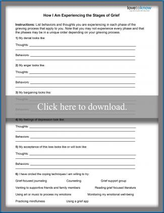Teen Grief Worksheet 1