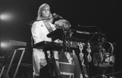Linda McCartney is shown performing