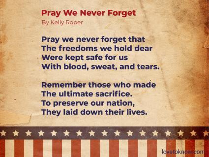 Memorial Day poem for prayer service