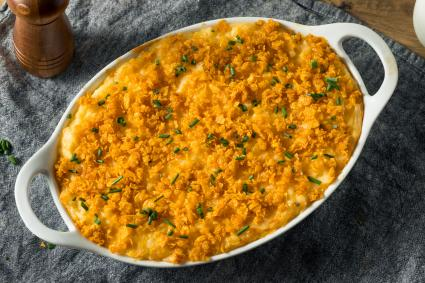 Homemade Funeral Potatoes Casserole with Cheese and Chives