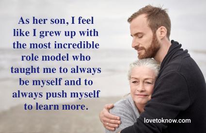 Adult son hugging senior mother