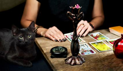 The fortune teller lays out the tarot cards with a black cat sitting near